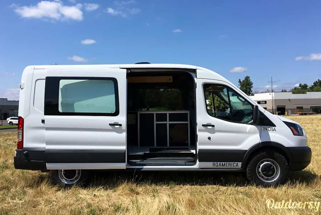 Ford Transit campervan with side door open