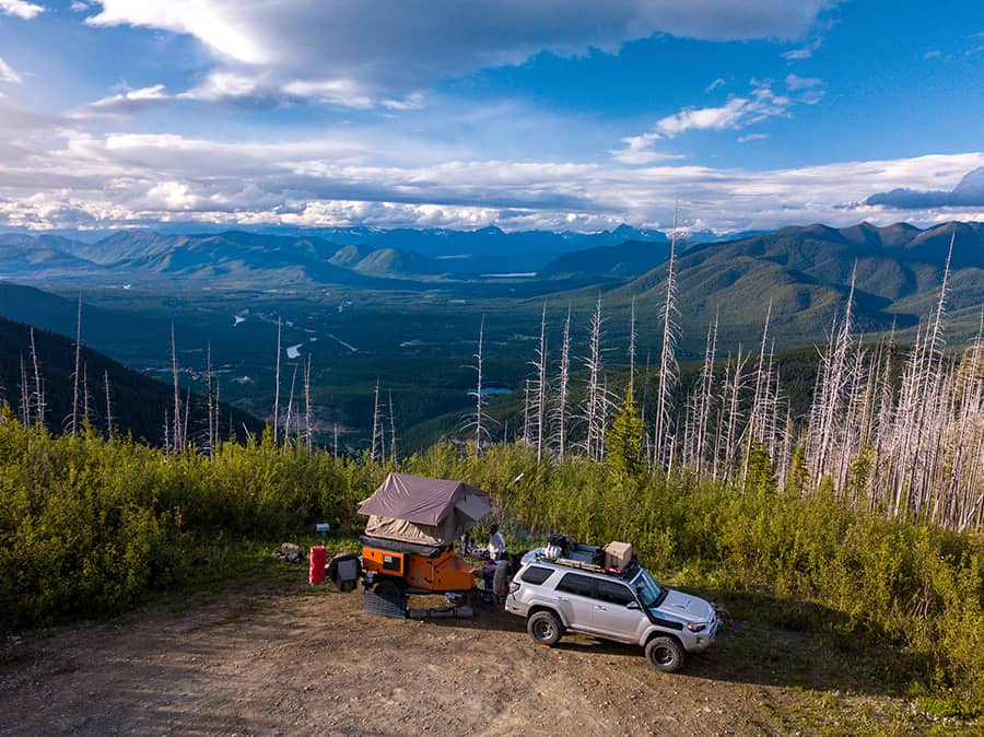 Expedition off-road camper parked in the mountains