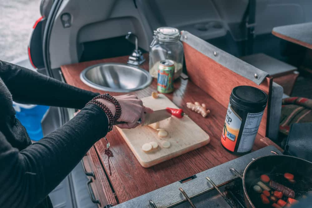 The Toyota Sienna camper's kitchen