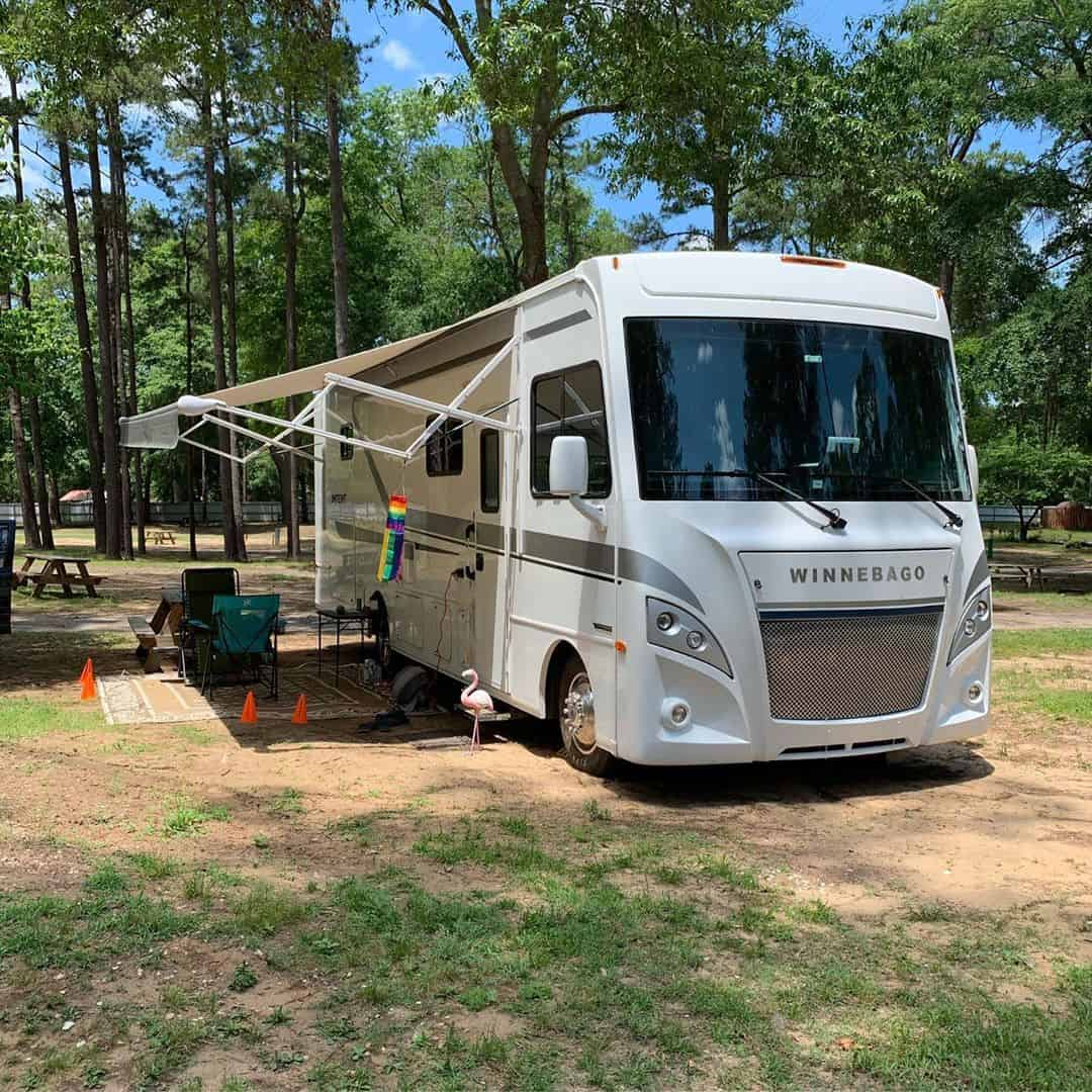 The Winnebago family RV parked at a campground