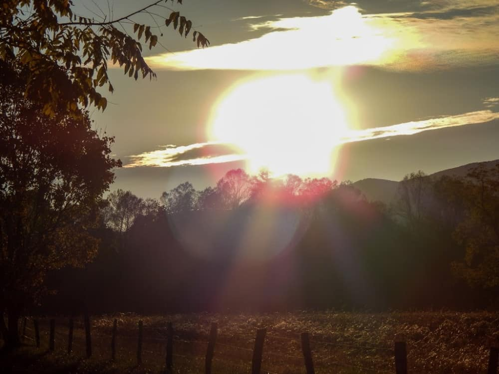The sun setting over trees near the Great Smoky Mountains