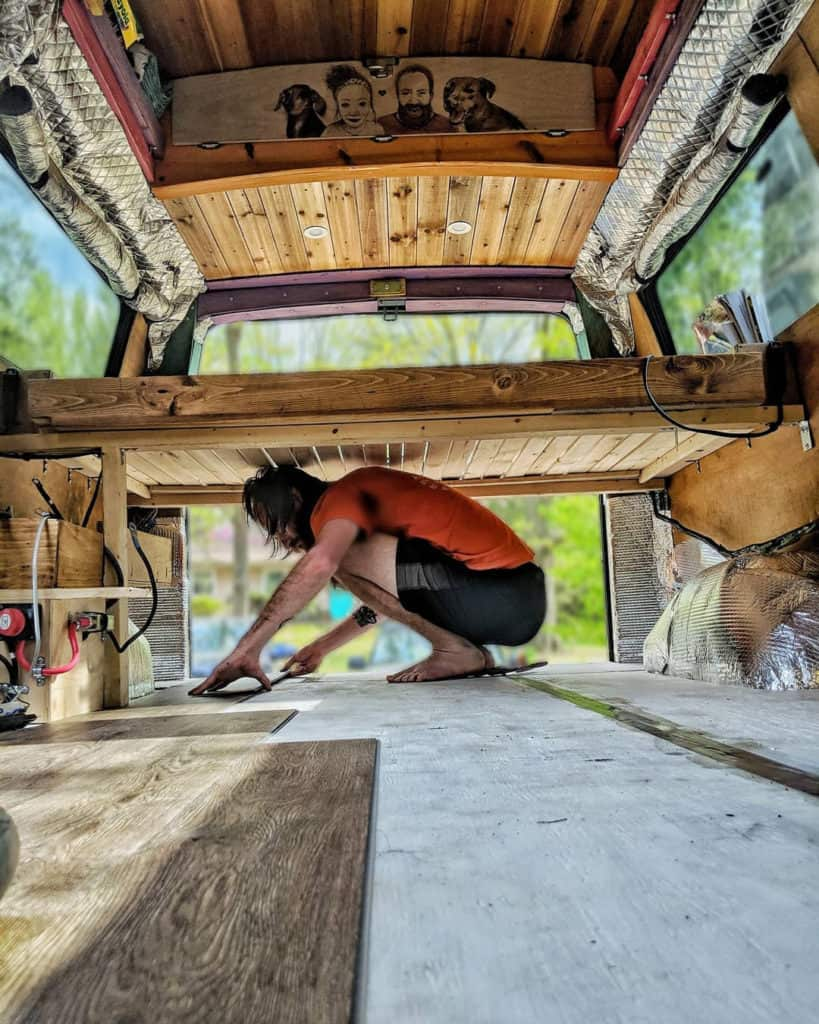 Platform bed design for a campervan interior