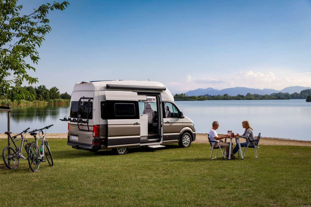 Grand California campervan parked in a field