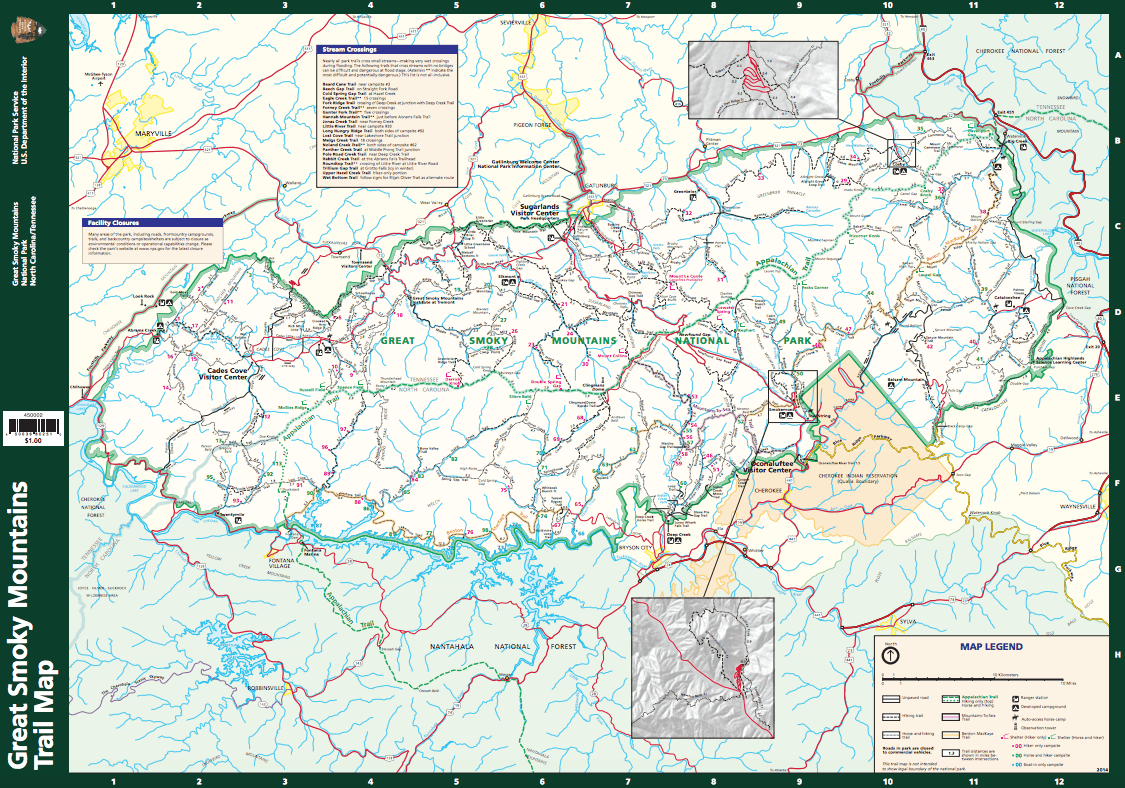 Great Smoky Mountain National park official trail map