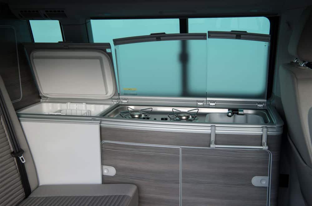 The galley in the new VW camper California for sale