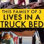 family lives in DIY truck bed camper