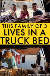 family lives in DIY truck bed camper
