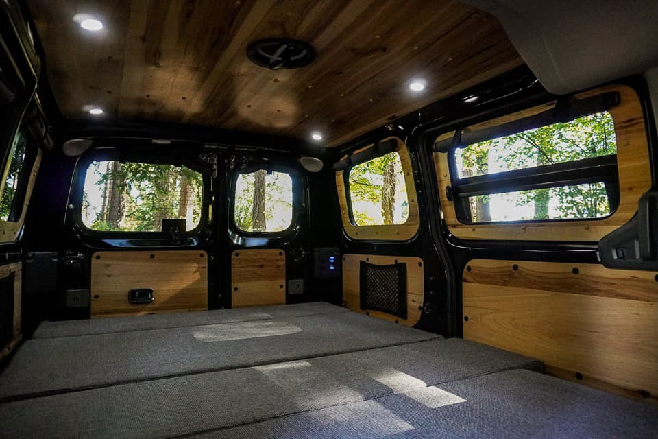 The campervan bed folds down into a comfortable sleeping area for two