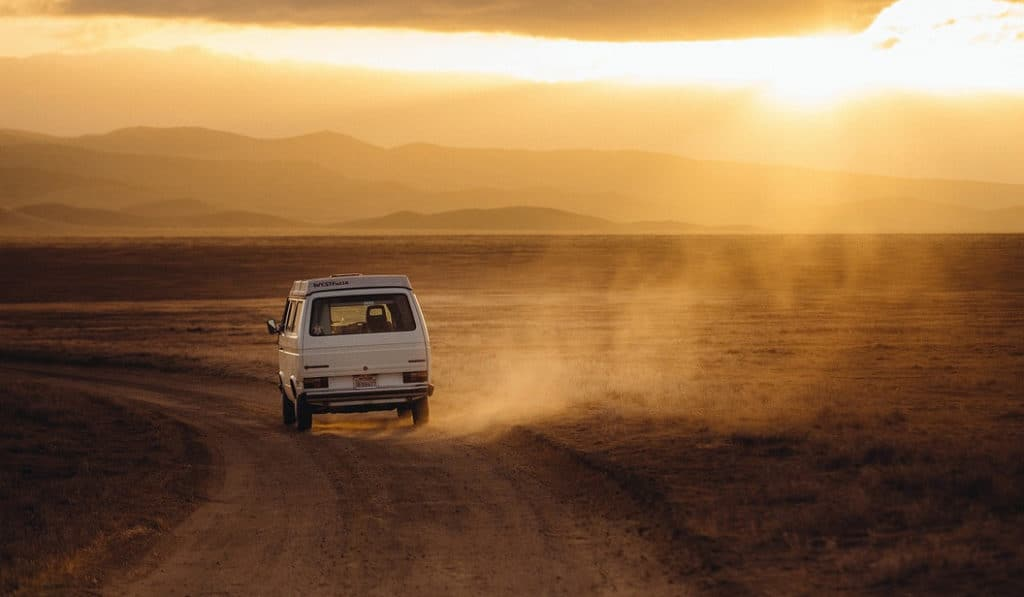 Volkswagen into the sunset