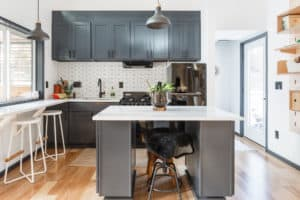 Hiatus Home kitchen and island in prefab tiny house