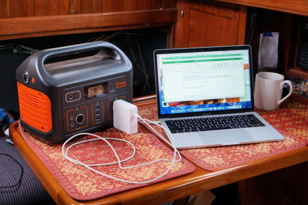 The Jackery Explorer 500 charging a laptop on a sailboat