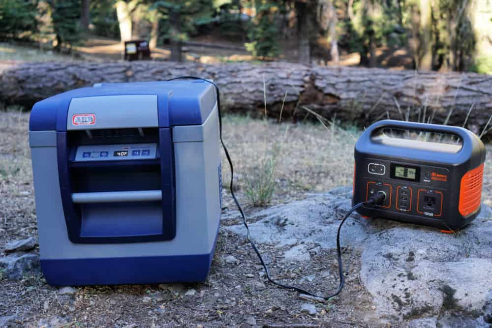 Jackery 500 Explorer Portable Power Station connected to an ARB portable fridge