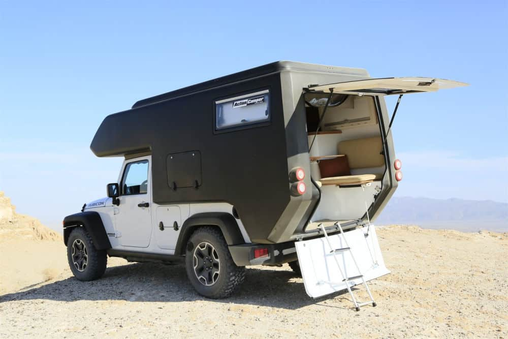 The Jeep Wrangler camper shell opened up