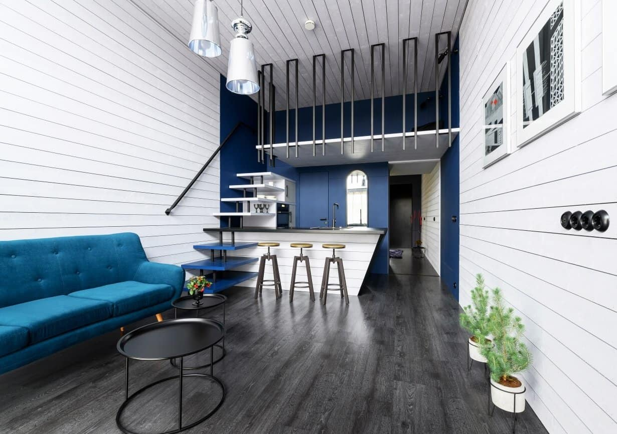 Koda series prefab tiny home modern interior with navy accents