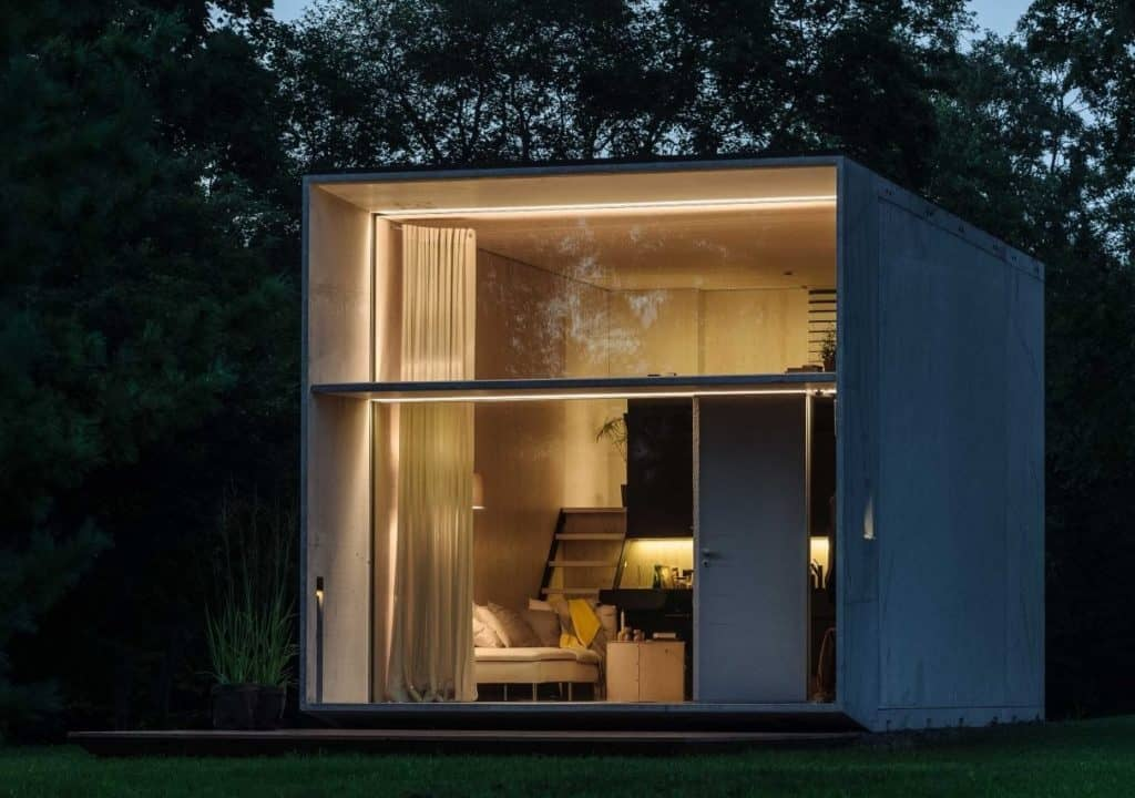 Modern style with glass front prefab tiny home