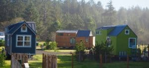 Tiny Homes parked in lots in an Oregon tiny house community