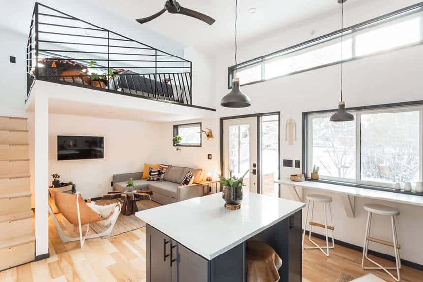 Hiatus Home prefab tiny house interior and loft