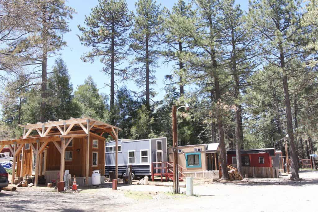 Tiny houses parked in a row in the trees in one of Calfornia's tiny house communities