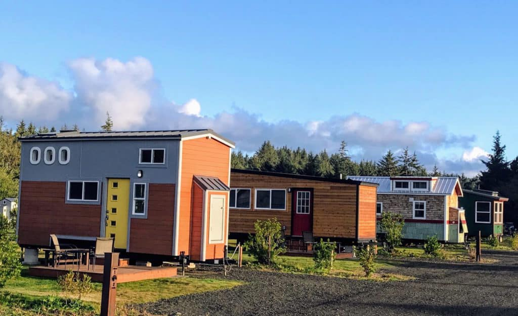 Tiny Houses Parked in a row in one of Oregon's tiny house communities