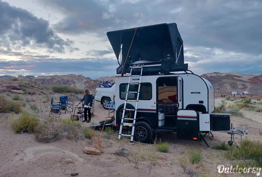 Adventure trailer rental set up boondocking in Utah