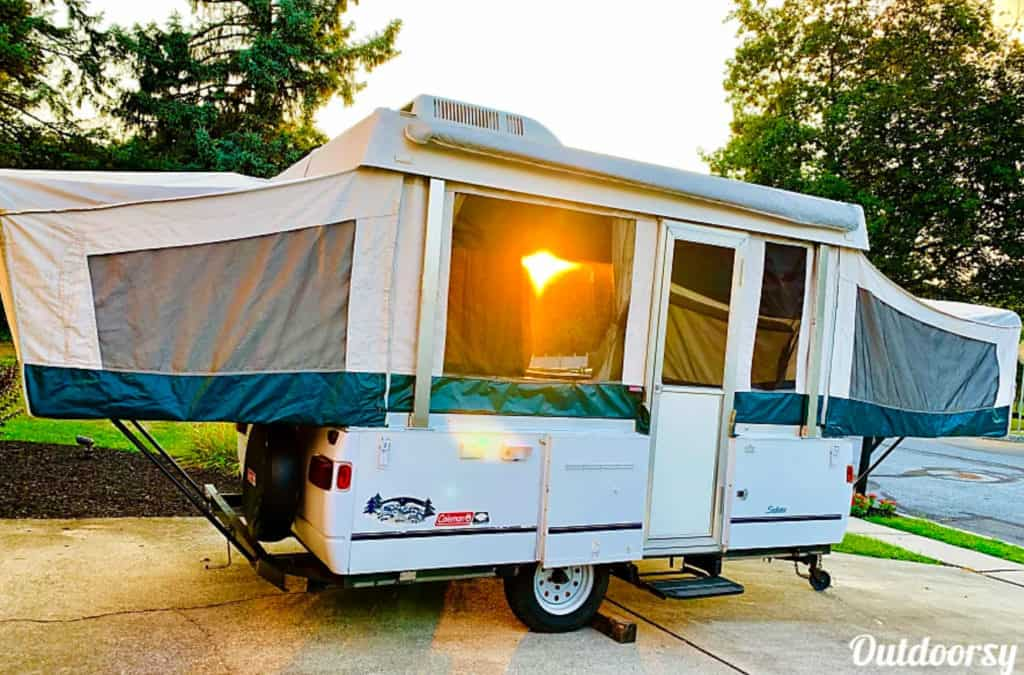 The Coleman Sedona pop up travel trailer rental set up for camping