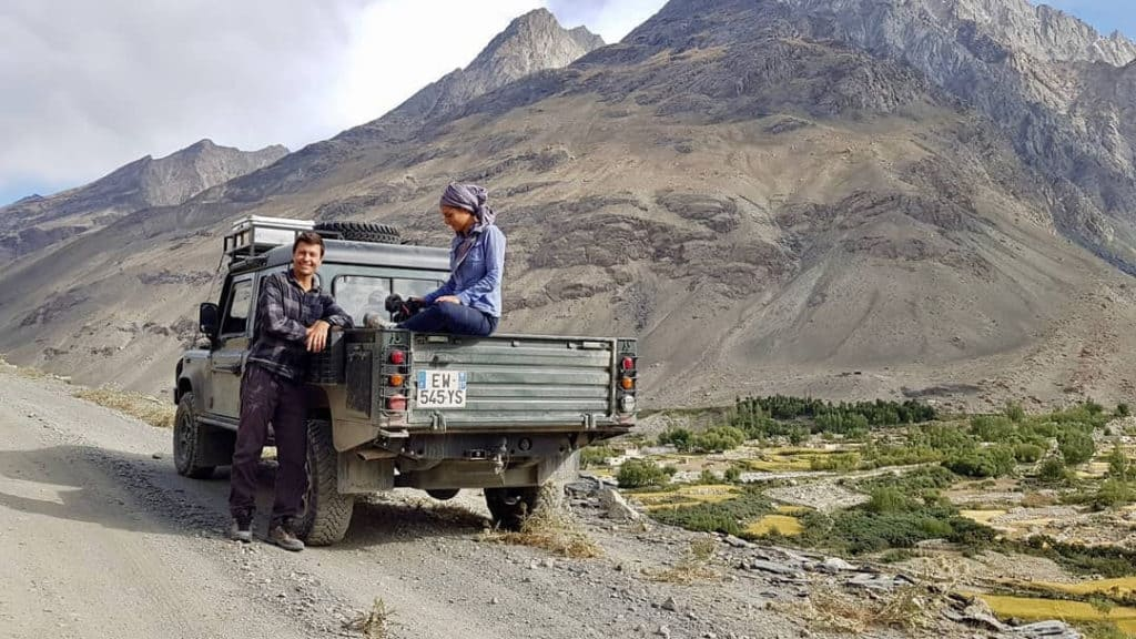 Leigh and Steph with their overland vehicle in Afghanistan