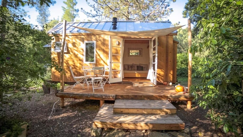 Exterior of wooden tiny house