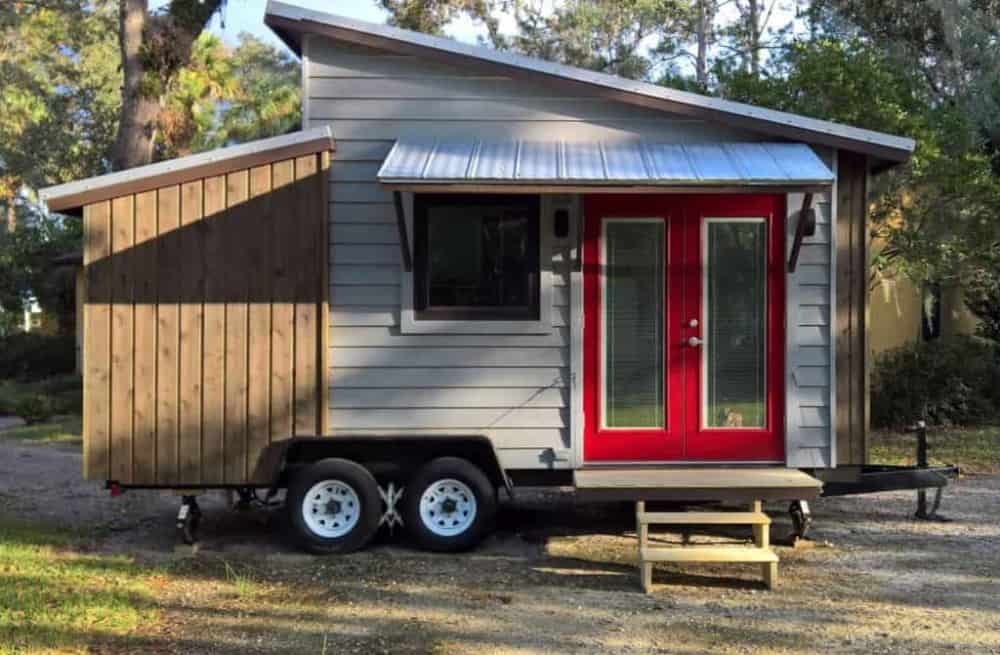 Adorable Tiny House with two different height lean-to roof for sale in Florida