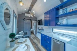 Galley style Kitchen with modern cabinets and appliances