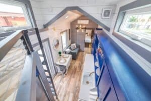 View from loft inside metal tiny home