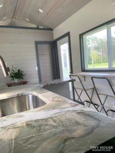 Sleek granite looking counter tops in the kitchen
