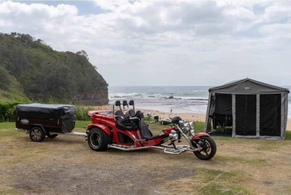 Ocean stops made with this motorcycle pull behind camper trailer