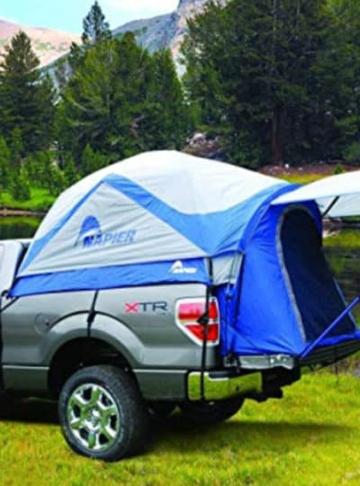 Napier Outdoor Sportz Truck Tent camping with mountains