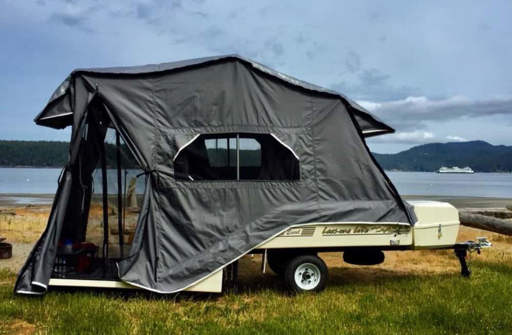 Lees-Ure Lite Trailers motorcycle camper on the beach