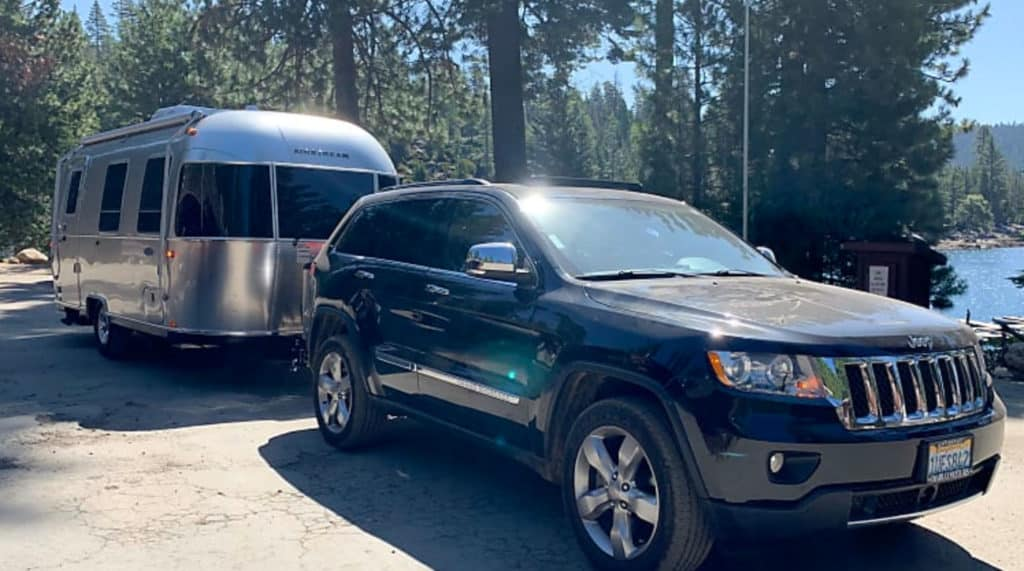 Airstream rental in California being towed by a pickup