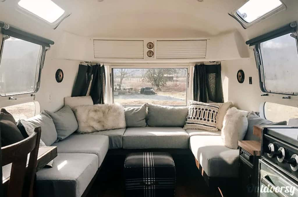 The interior of an Airstream travel trailer for rent in Oregon