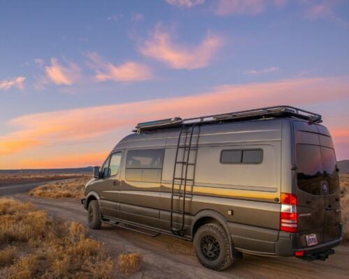 Esplori customized small Class B motorhome drives into the sunset