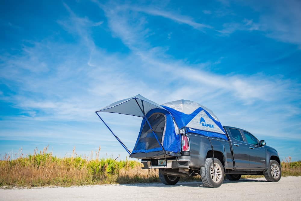 Napier Sportz Truck Bed tent opened on the back of a pickup