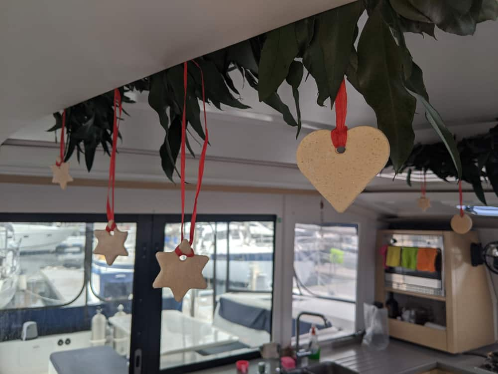 Christmas ornaments on a sailboat