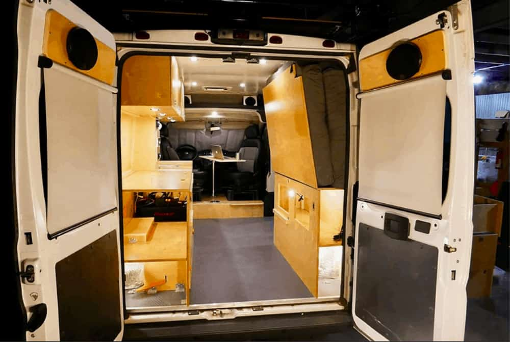 This conversion van's bed idea was the Murphy bed.