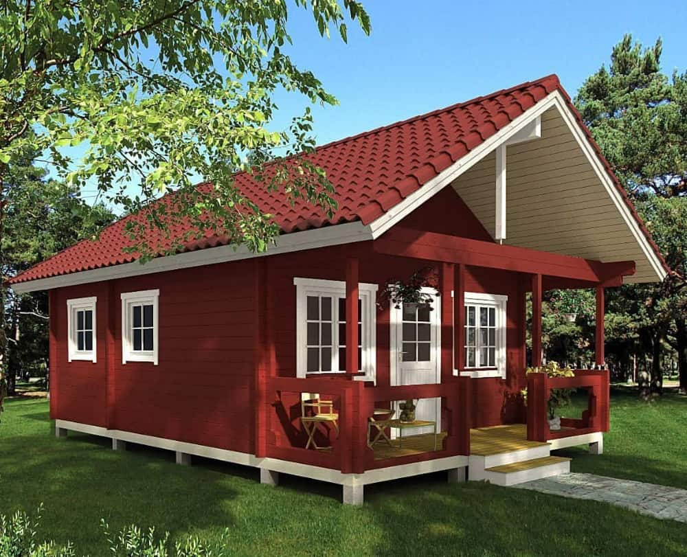 Exterior of tiny home with amazing front porch for sale on amazon
