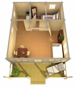 Bottom floor plan that includes a bedroom and bathroom