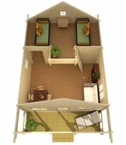 Upstairs floor plan for amazon tiny home with two twins in loft