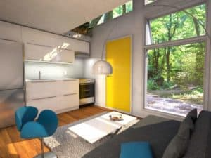 Living-room and kitchen inside Nomad tiny house