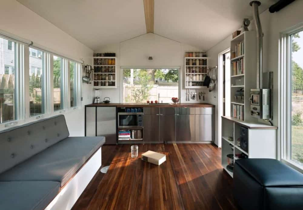 The interior of a wide load built on a tiny house trailer.