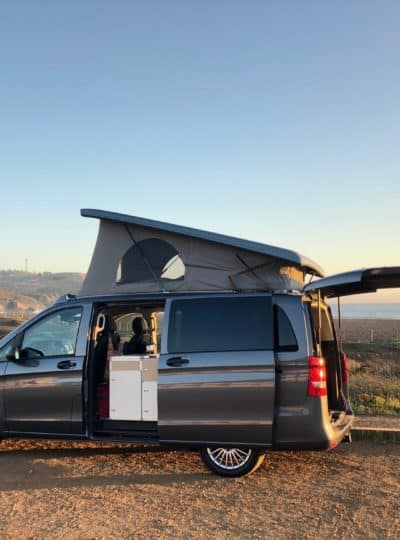 Mercedes Metris modular camper with the pop topped