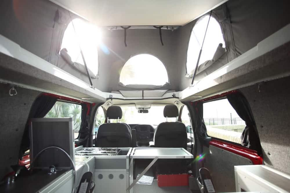 Interior of Mercedes Metris pop top caper