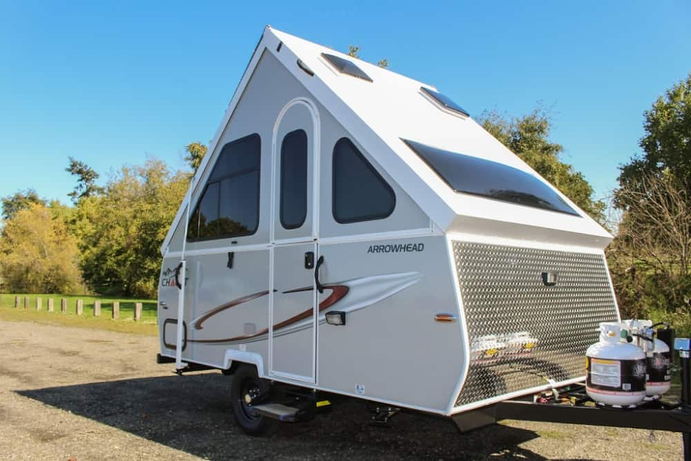 The Chalet LTW is a 2,000 pound A-frame, pop-up camper.