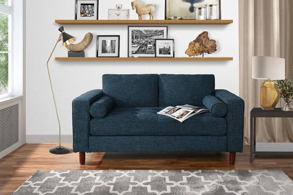 Divano Roma Furniture's loveseat is a modern tiny home seating option.