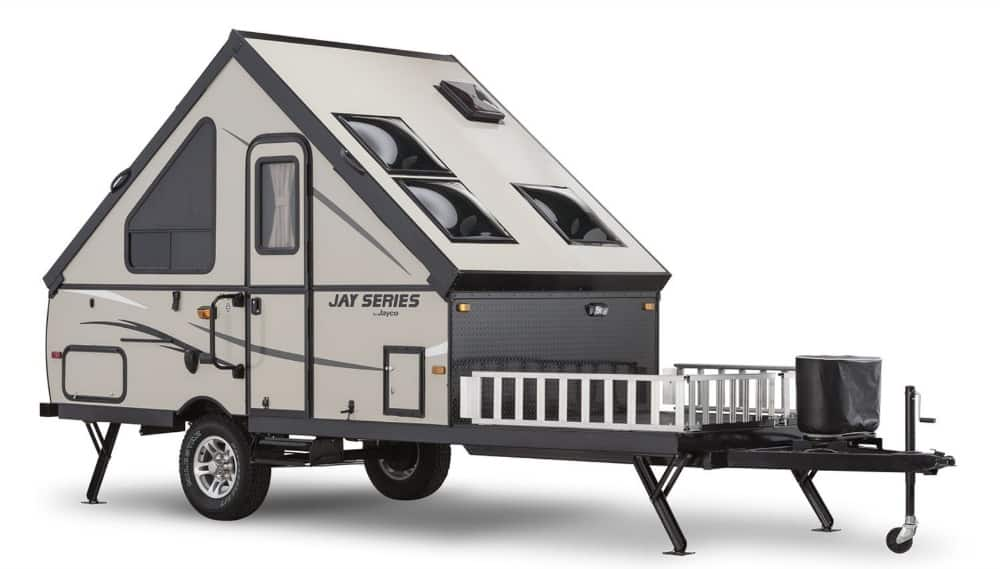 Jayco Jay series hard sided pop up trailer exterior.